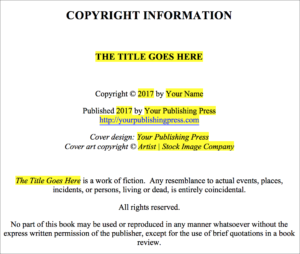 Jutoh and word bffs blackbird publishing for Copyright template for book